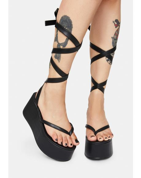 Lady Lace Up Ribbon Platforms