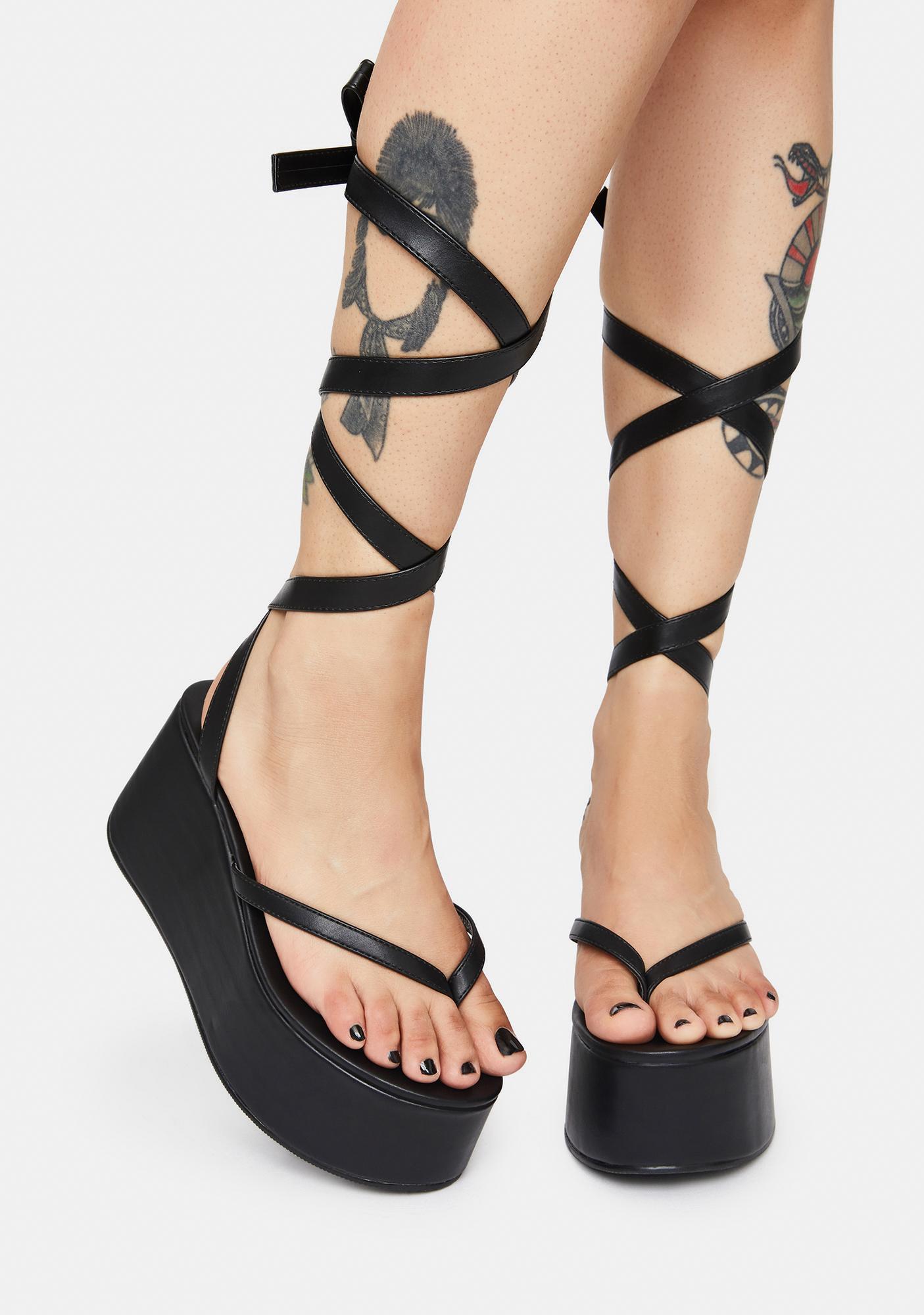 Public Desire Lady Lace Up Ribbon Platforms