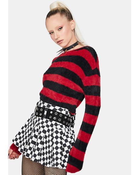 Darkest Dream Striped Fuzzy Sweater