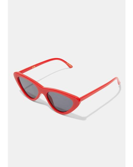 Zoe Red Smoke Sunglasses