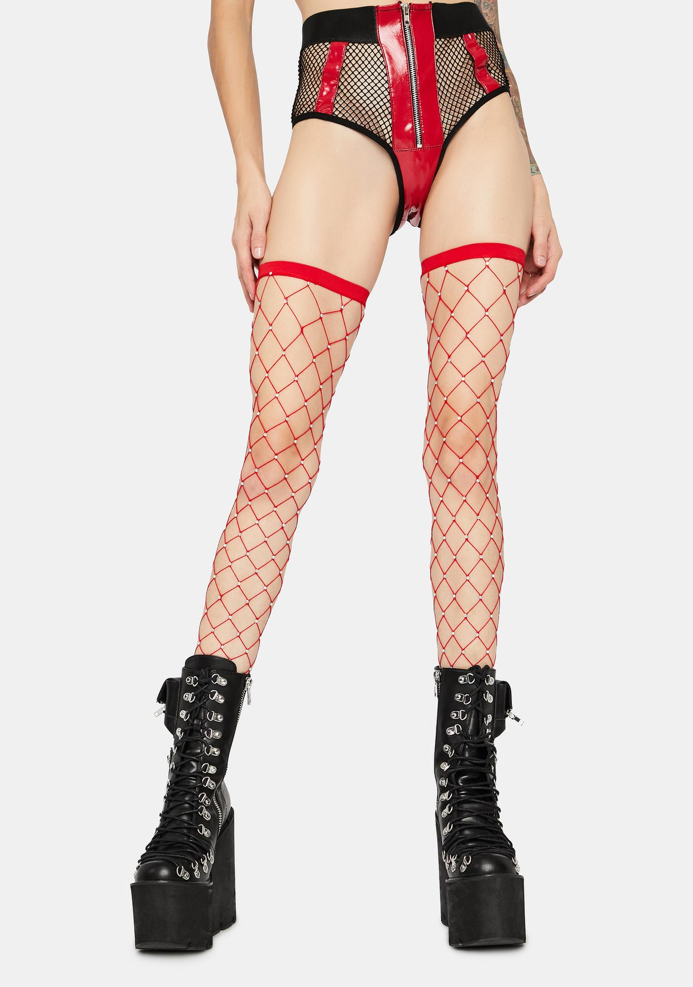Fire Shinin' Bright Fishnet Thigh Highs