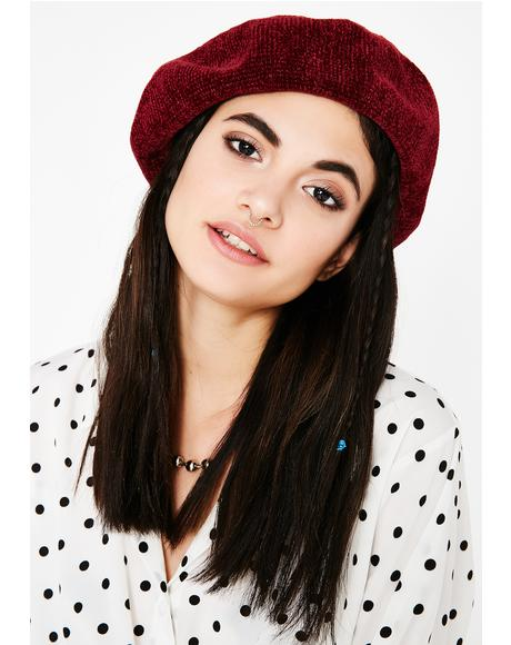 Wine French Kiss Felt Beret