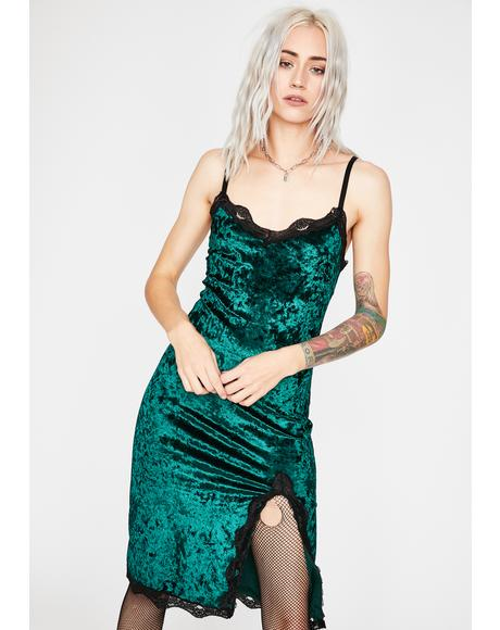 Emerald Read Into Me Velvet Dress