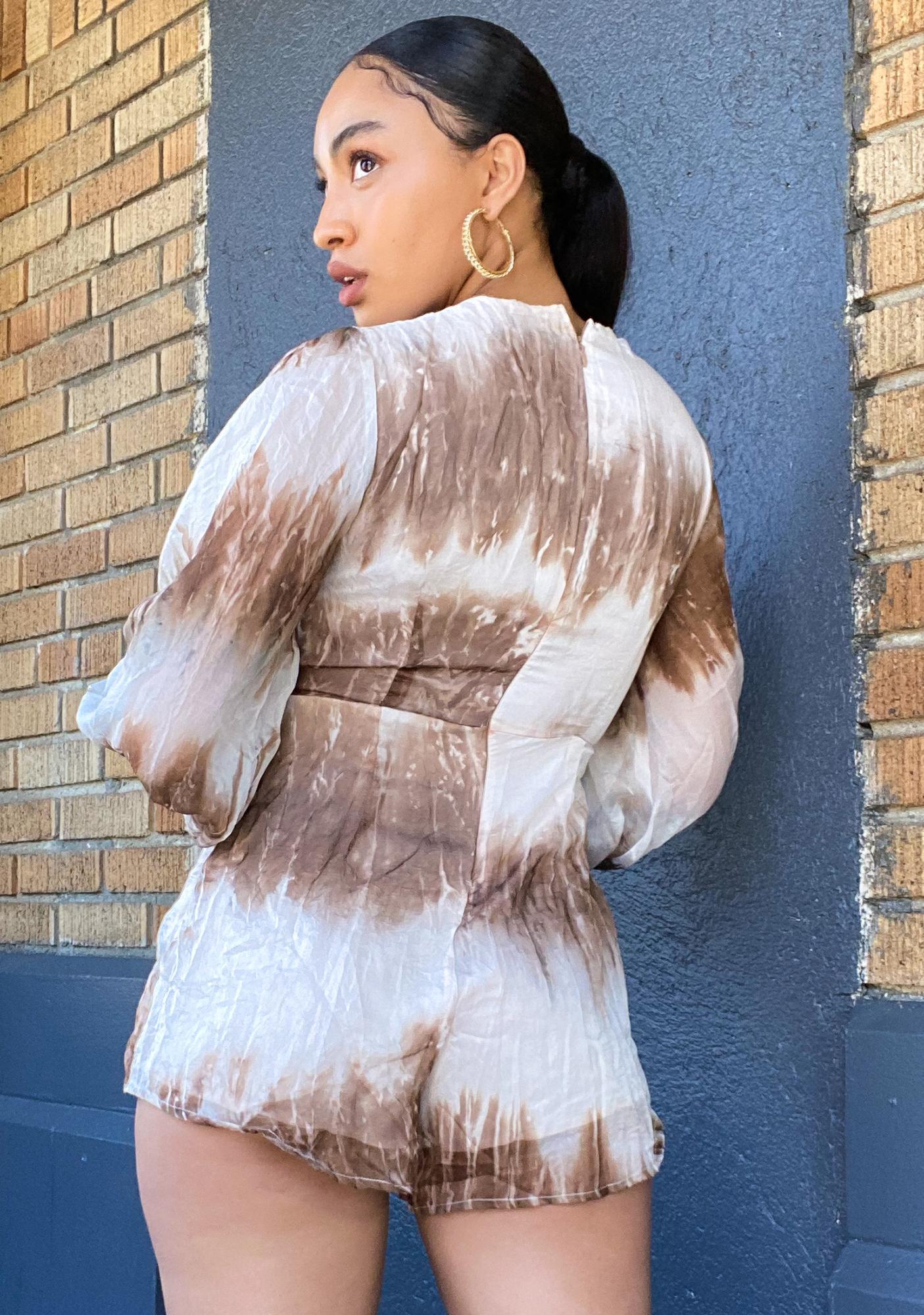 Ebonie N Ivory Tie Dye Long Sleeve Playsuit