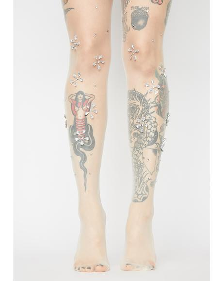 Nude Blissful Bouquet Rhinestone Tights