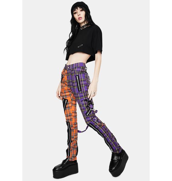 Tripp NYC Orange Purple Madness Plaid Pants