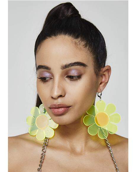 Neon Flower Power Earrings