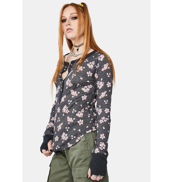 Free People Everest Floral Henley Top