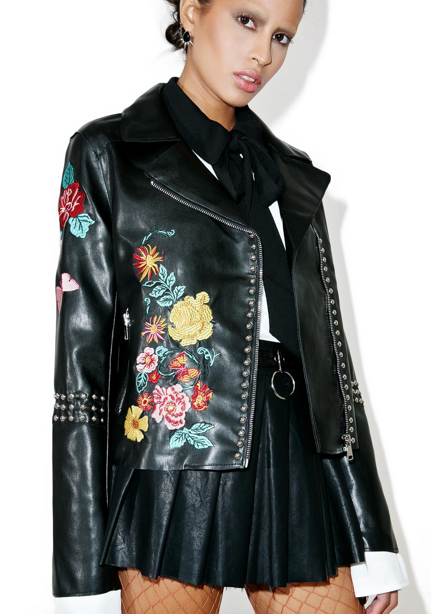 Glamorous Halcyon Embroidered Moto Jacket