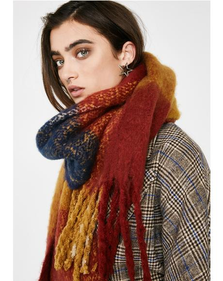 Rust Ivy League Plaid Scarf