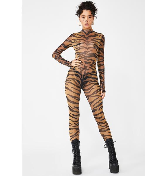 Dolls Kill Bad Bish Anthem Tiger Catsuit