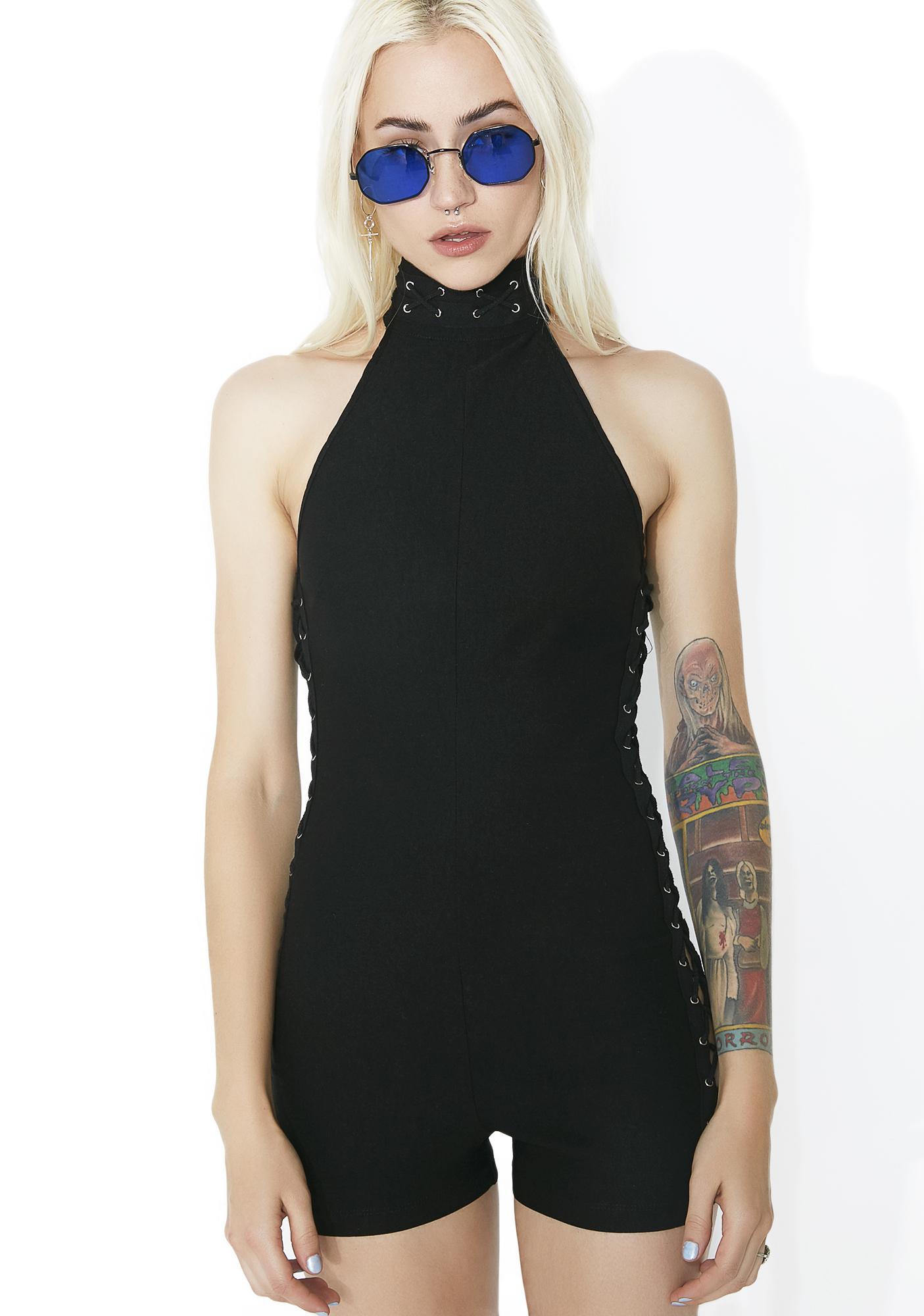 Side Lace-Up Black Romper