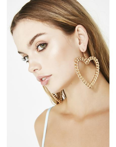 Blinged Out Luv Chain Earrings