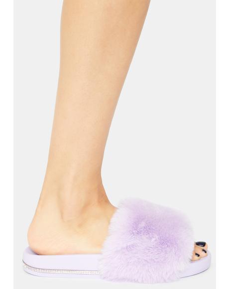 Lavender Keep Me Cozy Fuzzy Slides