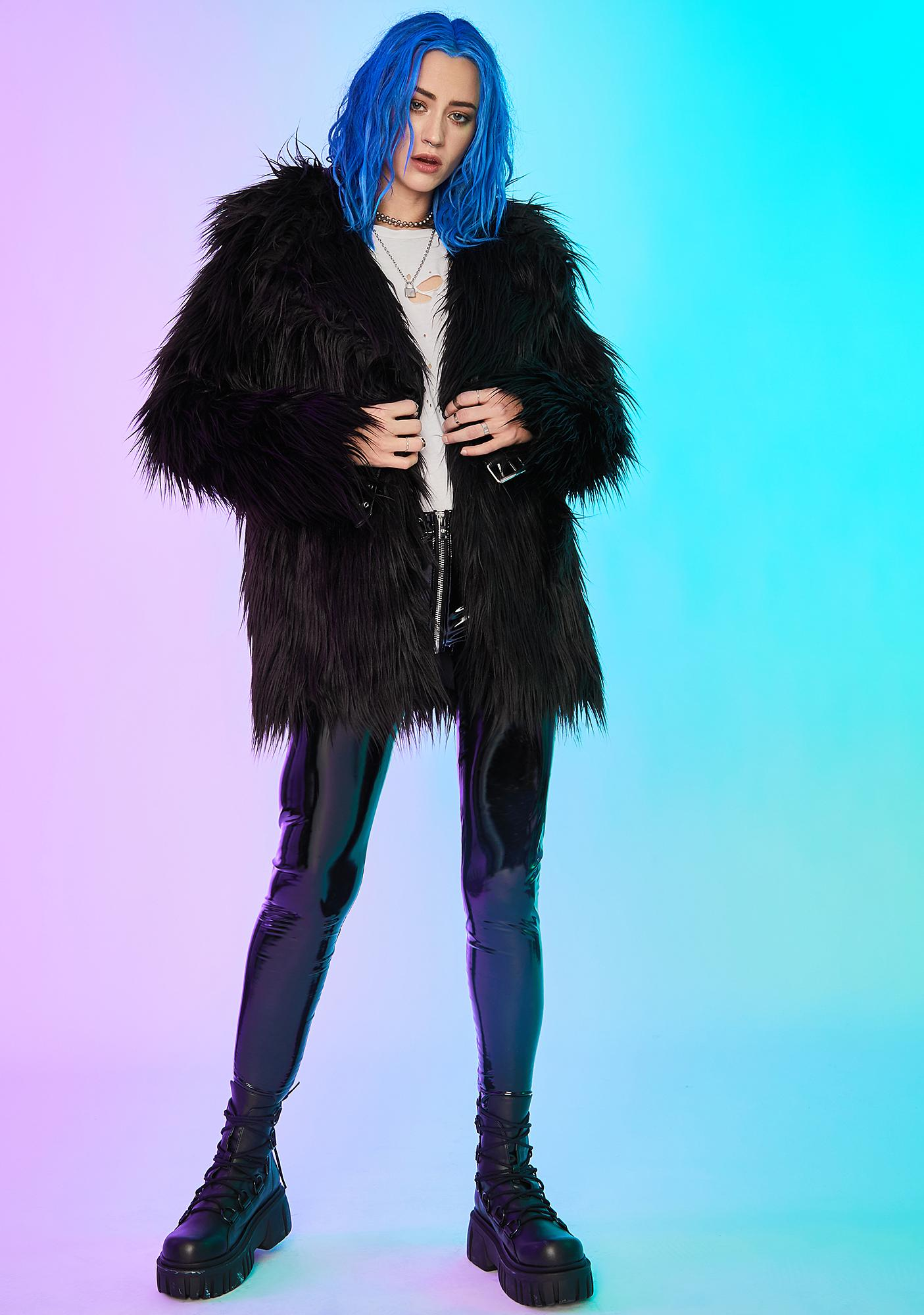 Current Mood Recipe For Disaster Faux Fur Coat