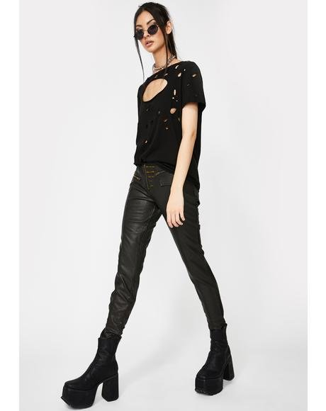 Faux Leather Skinnies With Slanted Zipper
