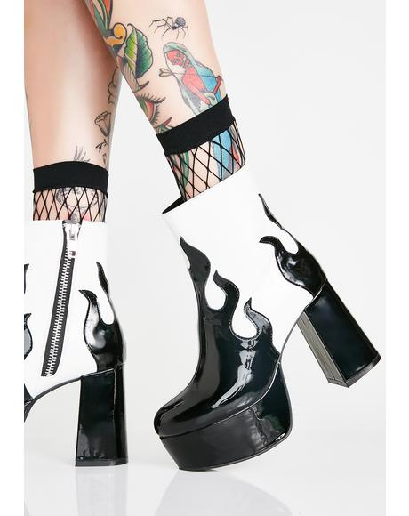 Up In Flames Platform Booties