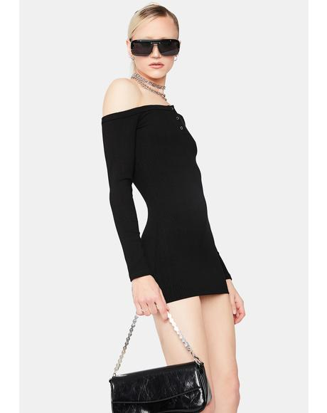Alert 'N Ready Off The Shoulder Mini Dress