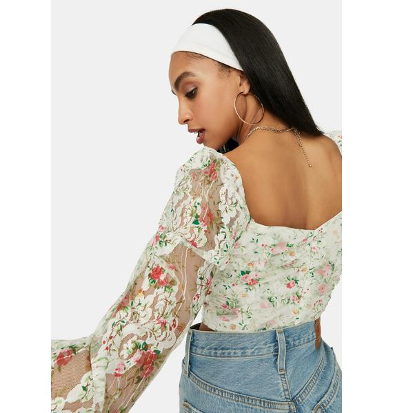 A Girls World Sheer Floral Lace Crop Top