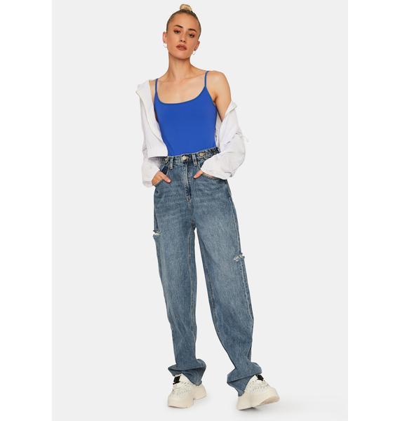 Free People Blue Strappy Basique Bodysuit