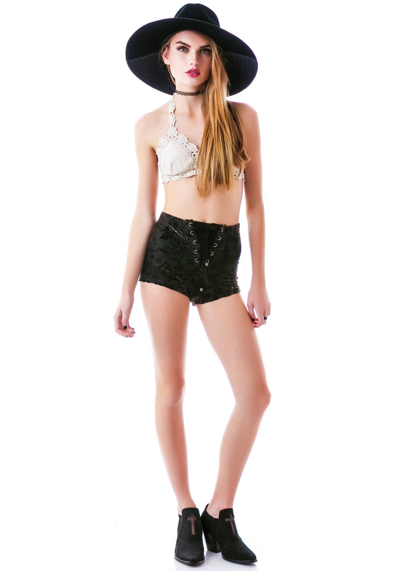 Lip Service Ramblin Rose Velvet Corset Shorts
