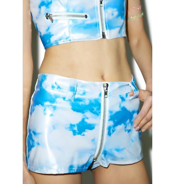 24HRS X Dolls Kill Cloudy Skies Moto Shorts