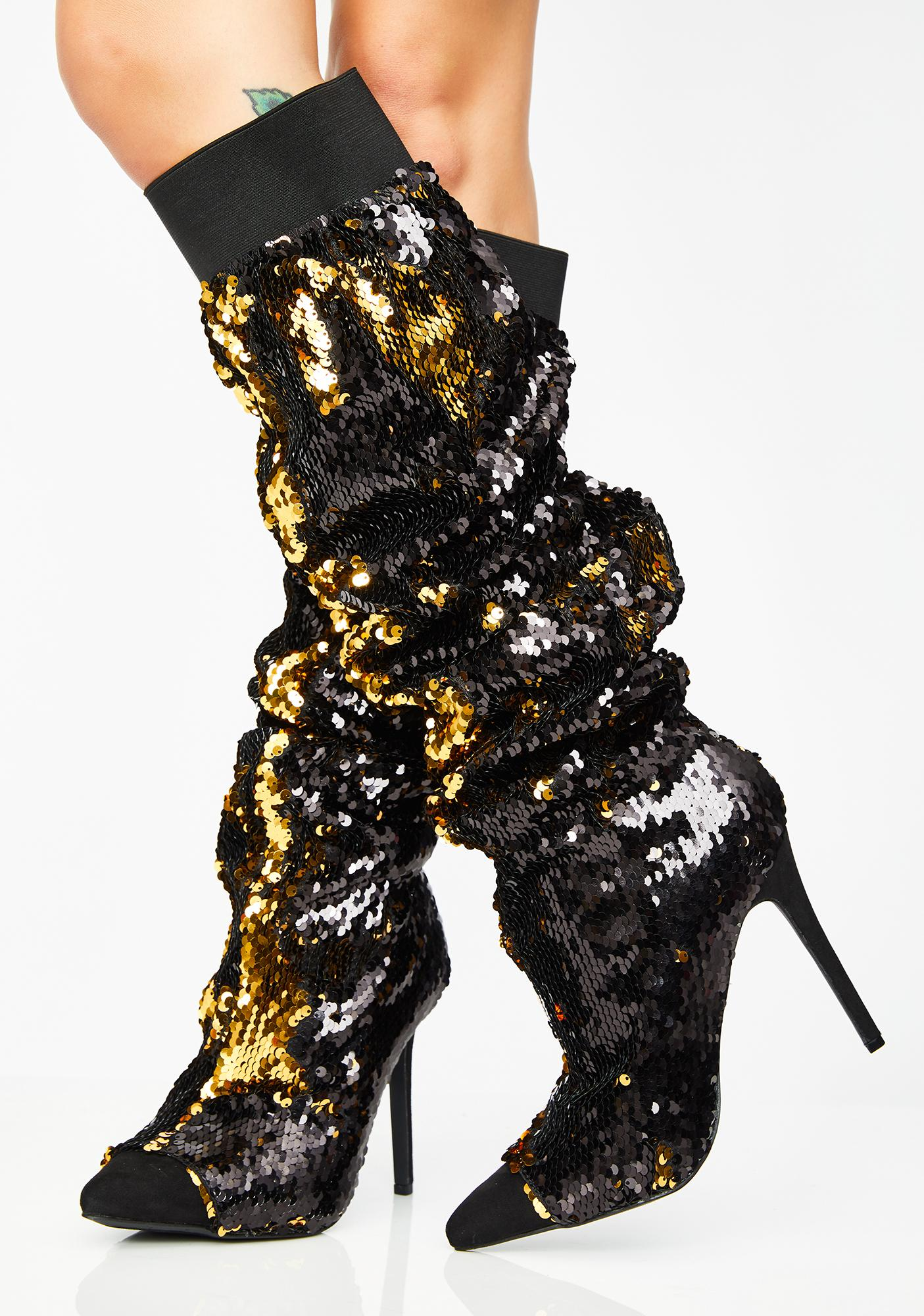 Lavish Living Sequin Boots