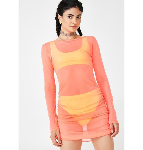 BADGAL BLVD Baecation Mesh Ruched Dress