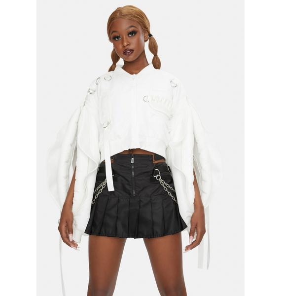 Namilia White Nylon Vulva Sleeve Bomber Jacket