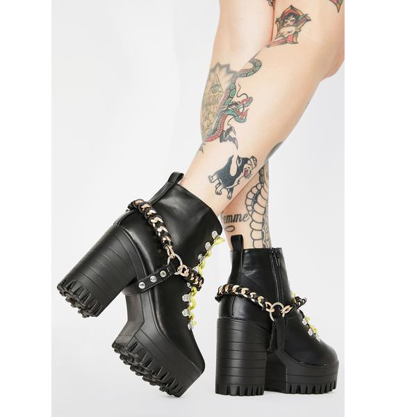 Public Desire Black Bribe Platform Boots