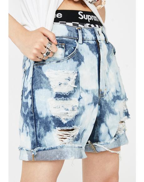 Sky Bleach Gusset Denim Shorts