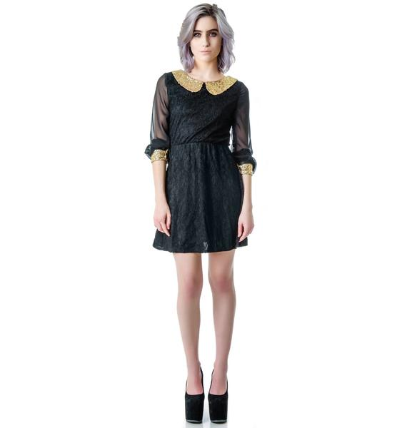 Ellie Sequined Collar Lace Dress