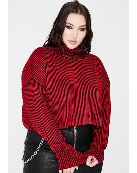 Hellish Mz First Name Trouble Stripe Sweater