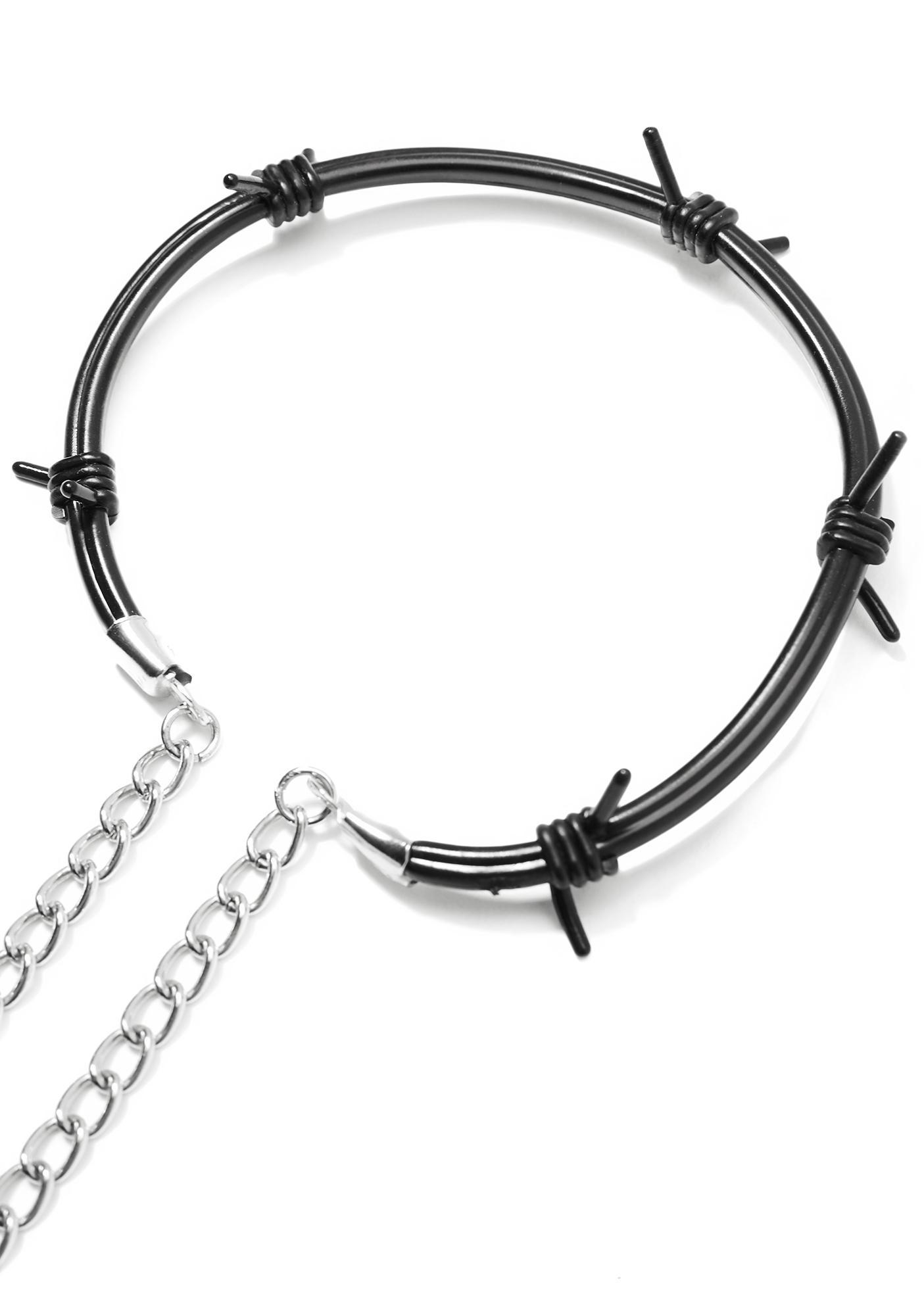 Rubber Barbed Wire Choker Black | Dolls Kill
