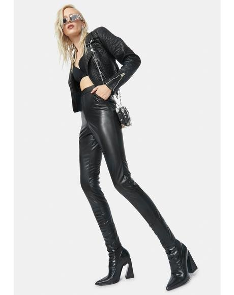 Taking Control Vegan Leather Skinny Pants