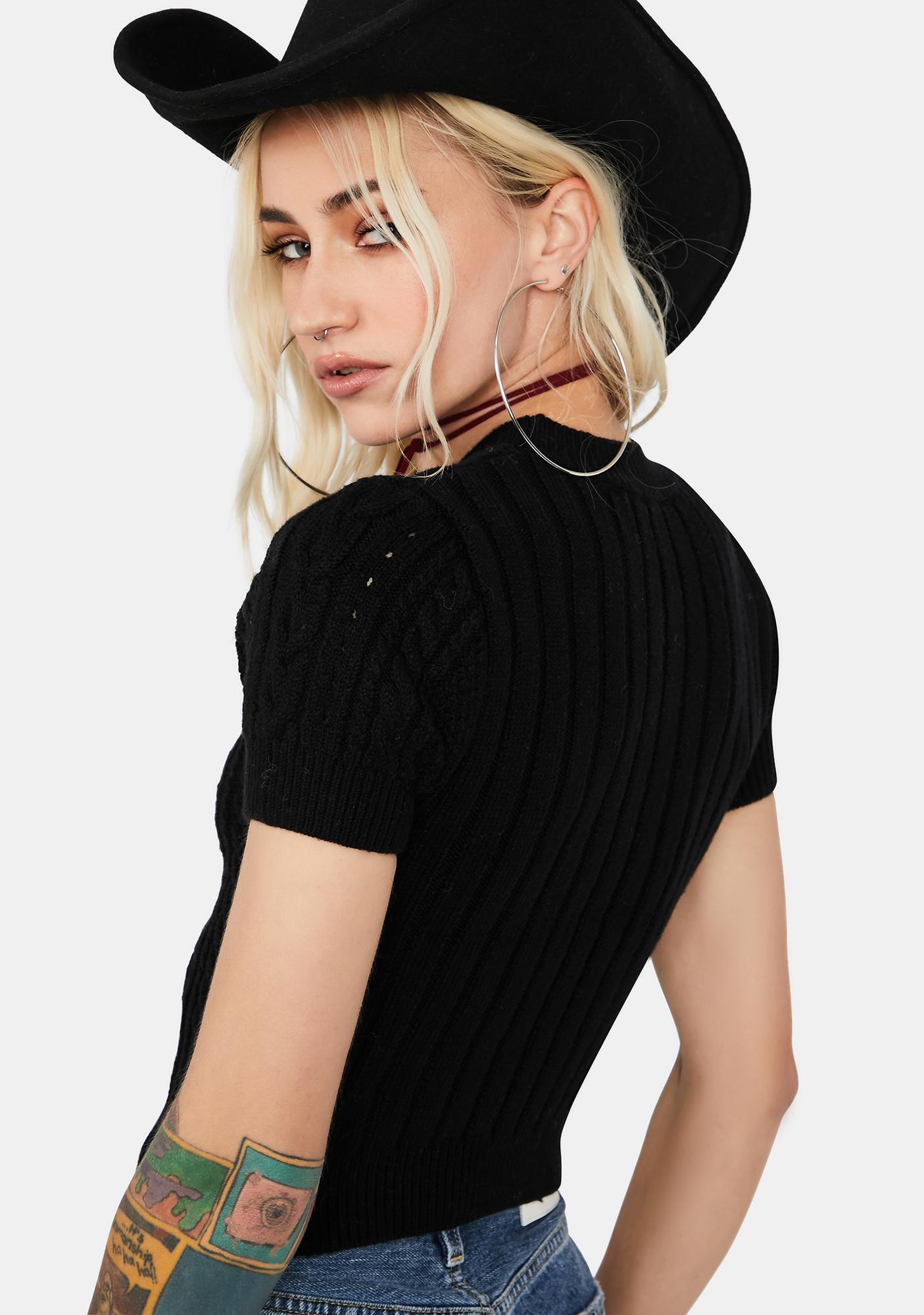 Free People Black Short + Sweet Brami Crop Sweater