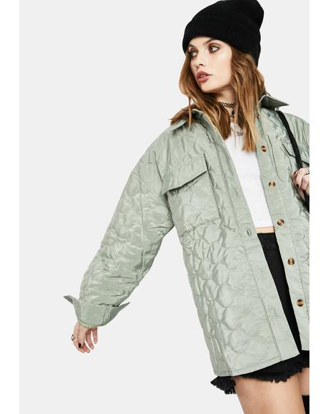 Green Grey Quilted Shirt Jacket