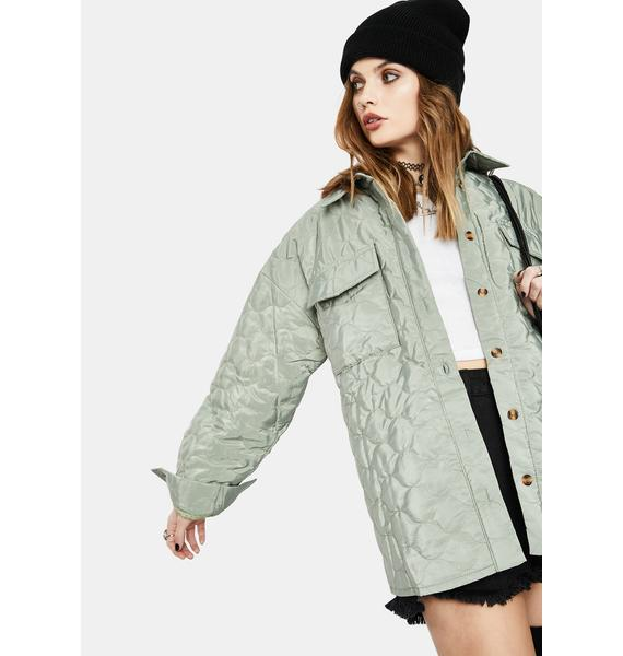 Daisy Street Green Grey Quilted Shirt Jacket