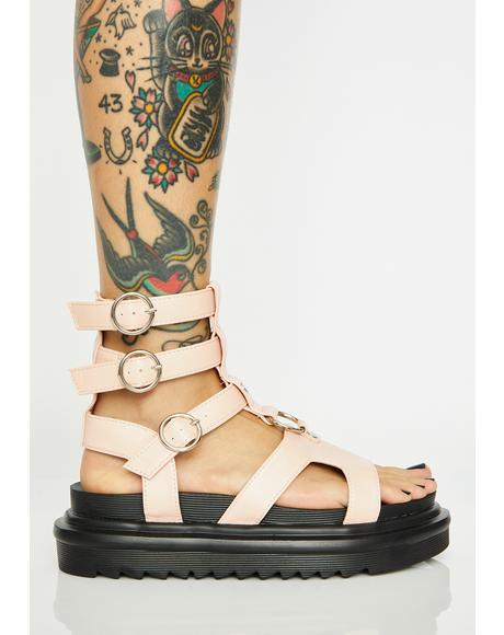Blush Up For It Platform Gladiator Sandals