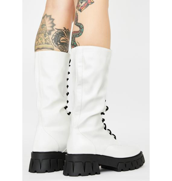 Koi Footwear White Trinity Patent Calf High Boots