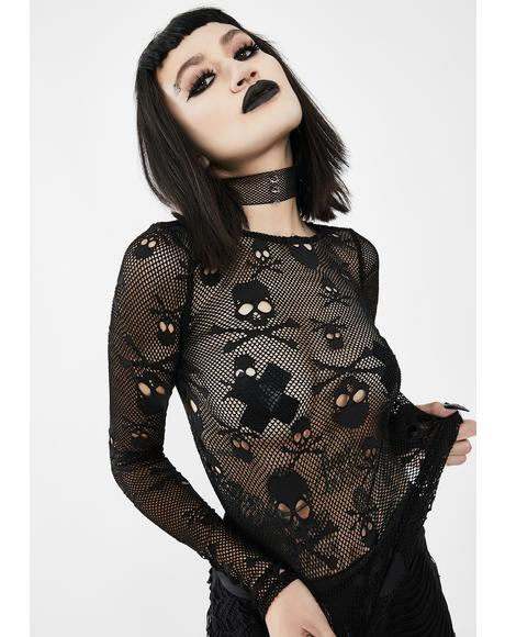 Mesh Long Sleeve Skull Top