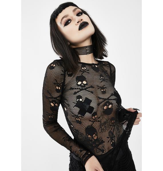 Eva Lady Mesh Long Sleeve Skull Top