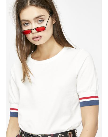 Game On Stripe Sleeve Tee