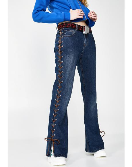 Tragic Kingdom Lace-Up Jeans