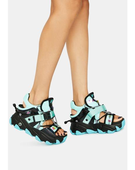 Teal Dragon Fruit Sandals