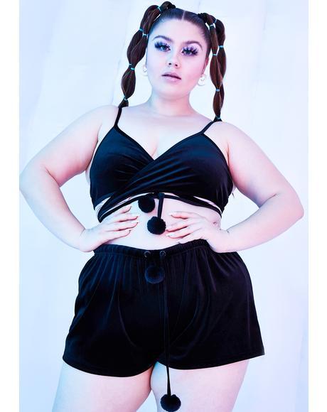 Dark Miss Rave Bunny Velvet Wrap Top
