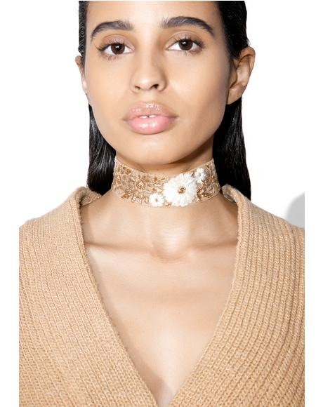 Josephine Embroidered Floral Choker