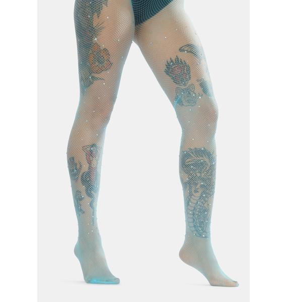 Aqua Fairy Glam Pearl Fishnet Tights