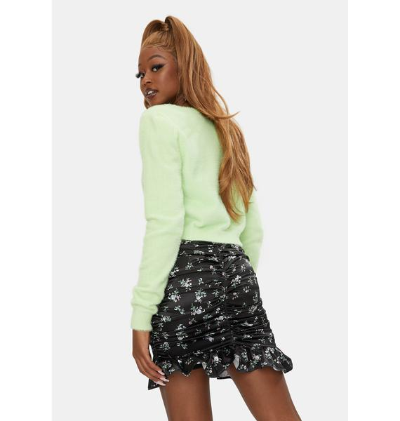 RARE LONDON Ruched Floral Mini Skirt
