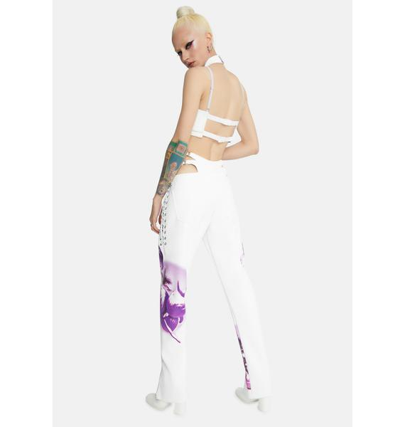 Namilia White Cyber Dolphin Lace-Up Trousers